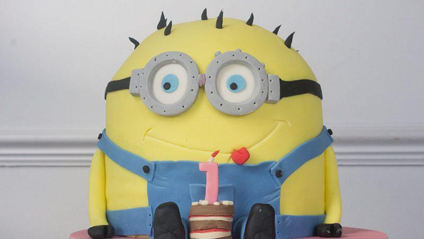 3D Minion First Birthday Cake