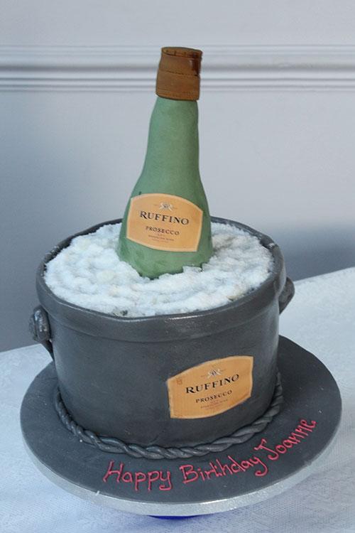 3d Champagne Bottle In Ice Bucket Cake Bakery