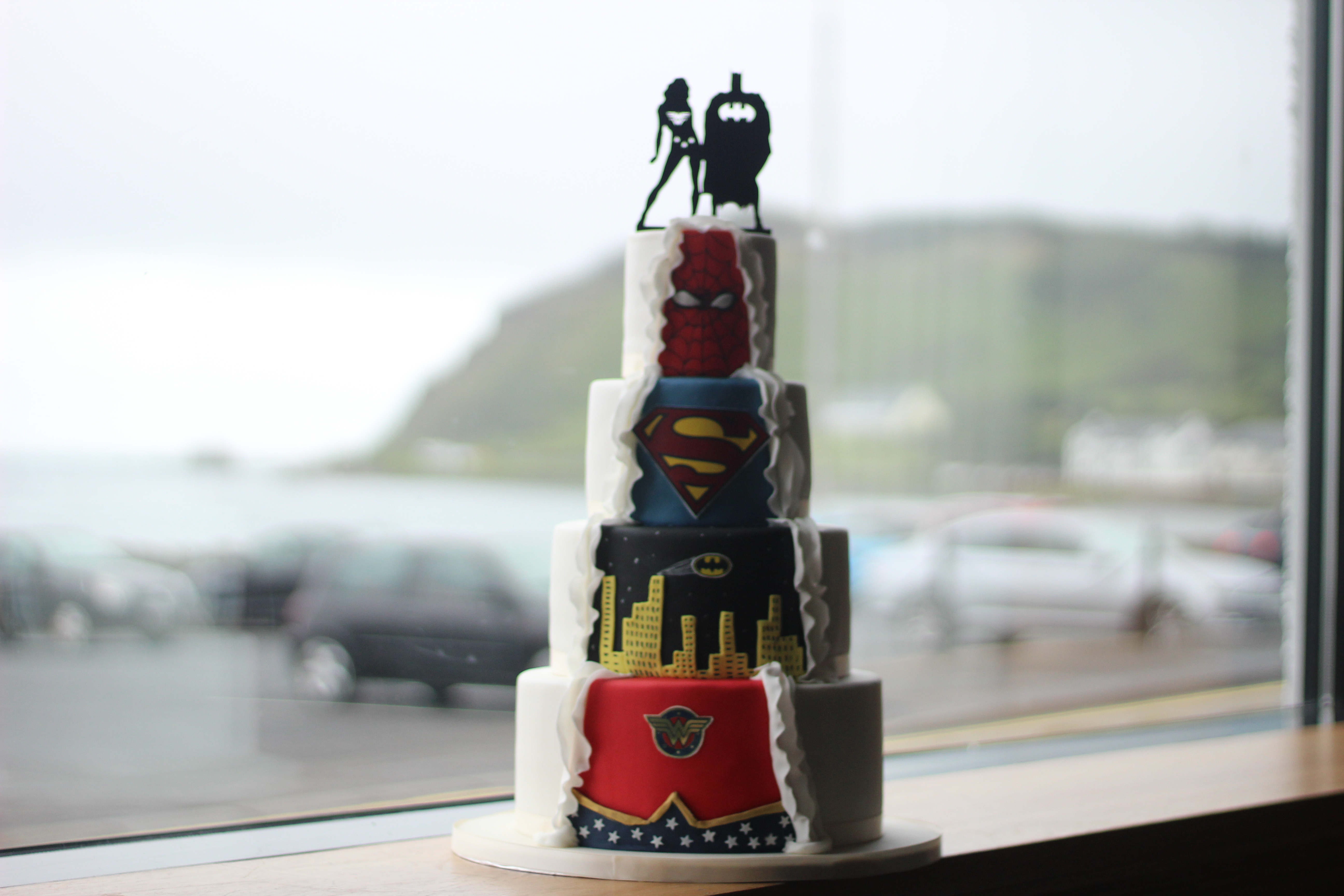 Super Hero Wedding Cake, Marvel Wedding Cake, Novelty Wedding Cakes, Spider man, Supper women, batman, Superman